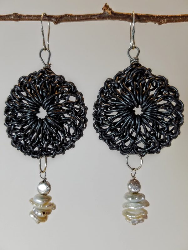 Black Mandala Earring with Pearls Hanging View