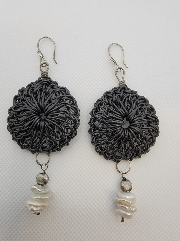 Black Leather Rosette Earrings on Titanium Wire Hoop with Freshwater Keishi Pearls and Silver Front View