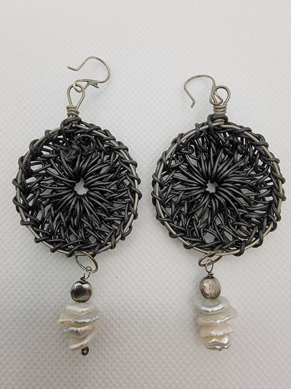 Black Mandala Earrings with Keishi Pearls Back View